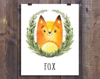 Fox - Printable Nursery Wall Art, Woodland Animals Playroom Decor, Forest Friends Children Gift, Kids Room Poster, Woodland Creatures Print