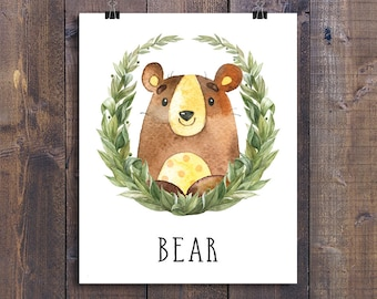 Bear - Printable Nursery Wall Art, Woodland Animals Playroom Decor, Forest Friends Children Gift, Kids Room Poster, Woodland Creatures Print