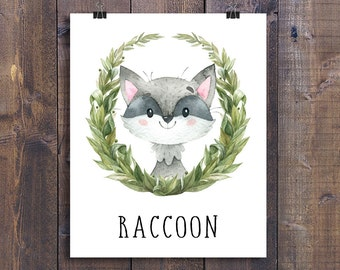 Raccoon - Printable Nursery Wall Art, Woodland Animals Playroom Decor, Forest Friends Gift, Kids Room Poster, Woodland Creatures Print