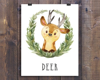 Deer - Printable Nursery Wall Art, Woodland Animals Playroom Decor, Forest Friends Children Gift, Kids Room Poster, Woodland Creatures Print