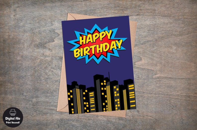 Superhero Birthday Card Printable Greeting Happy
