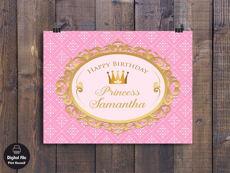 Princess Backdrop Birthday Party Decor Personalized