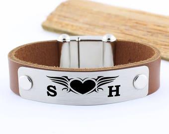 Personalized heart bracelet, personalized initial bracelet, personalized leather bracelet, personalize wing bracelet, personalized love gift