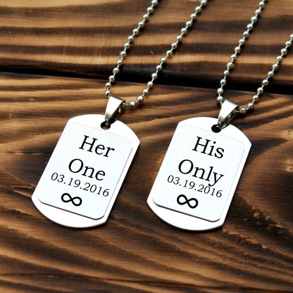 custom couples necklace personalized couples necklace set matching couple necklaces gift for boyfriend for men his and her name necklace