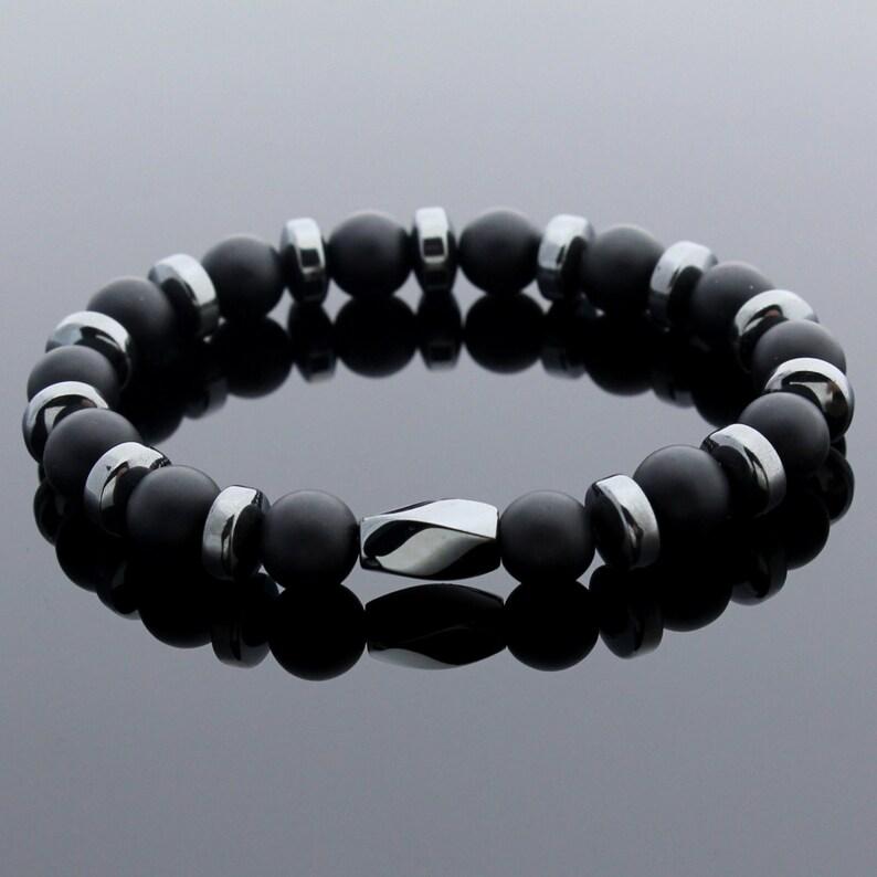 fcca2d66c8f18 Mens Beaded Bracelet, Matte Onyx Bracelet, Hematite Bracelet, Gemstone  Bracelet, Mens Gift, Valentines Day Gift, Gift Idea, Gift for Men