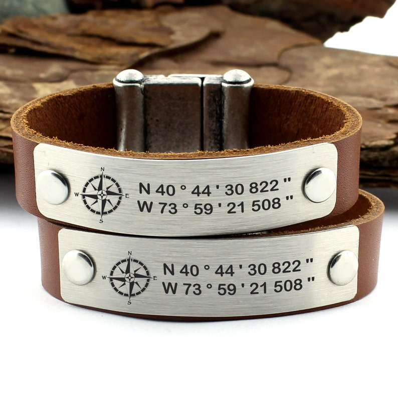 be884a34b5120 Couple Coordinate Bracelets, Latitude Longitude, GPS Bracelet, Personalized  Leather Bracelet, Matching Bracelet, His Her Bracelet, Gift Idea