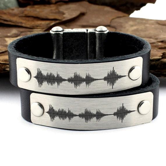 Sound Wave Jewelry Womens Bracelet Gift Unisex Leather Bracelet Couple Sound Wave Bracelets Personalized Men Bracelet Anniversary Gift