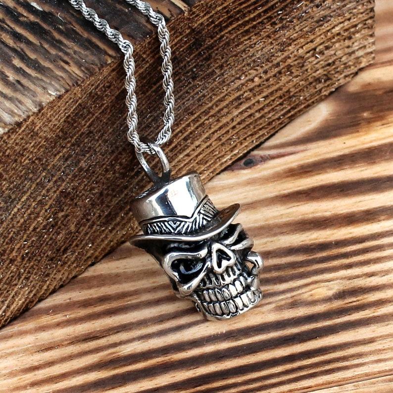 skull gift Mens necklace skull jewelry stainless steel necklace skull necklace steel pendant mens jewelry skull pendant mens pendant