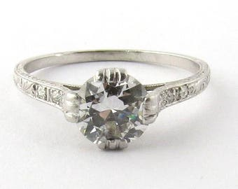 Antique Art Deco Platinum Diamond Engagement Ring #340
