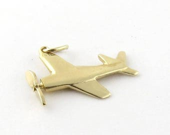 Vintage 14K Yellow Gold Plane Jet Pendant with Spinning Propeller #111