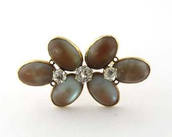 Antique Victorian 14K Yellow Gold Moonstone and Spinel Flower Brooch Pin #384