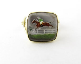 Vintage 14 Karat Yellow Gold Reverse Intaglio Racehorse Ring Size 3.5 #3611
