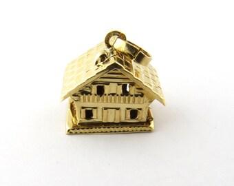 Vintage 18 Karat Yellow Gold House Charm #3471