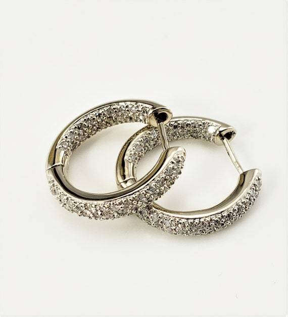 Vintage 14 Karat White Gold and Diamond Hoop Earri