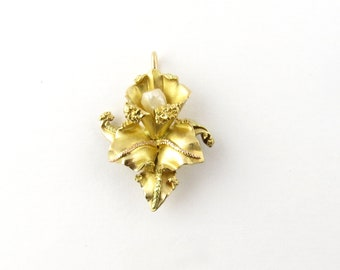 Vintage 18 Karat Yellow Gold and Pearl Orchid Pendant #3585