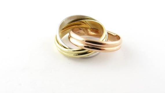 Vintage 18 Karat Tricolor Gold Ring Size 5 #3936
