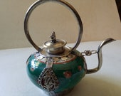 Chinese porcelain and metal teapot, dragons and monkey, green, or incense burner