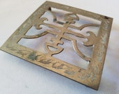 Brass trivet stand, Asian design, square