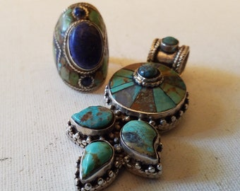 Pendant and ring set, Lapis Lazuli and turquoise and silver ring, size 9