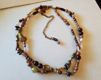 Stone and wooden beaded necklace or belt