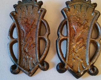 2 metal decorations, lions, good for re purpose projects