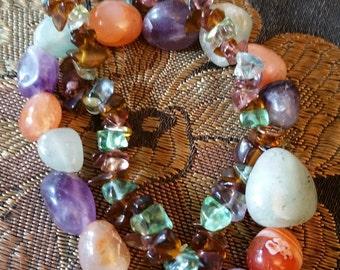 Stone stretch bracelet pair