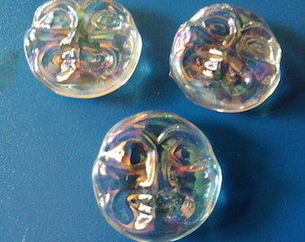 3 Iridedescent clear glass happy moon faces