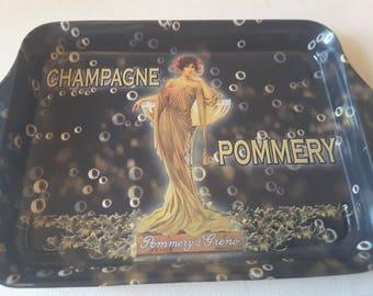 Art nouveau themed tin tray