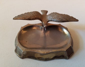 Silver plate? Tray with eagle, use as incense burner