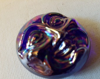 Iridedescent blue / purple glass happy moon face
