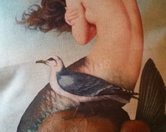 Mermaid with seagull pillow case, no insert