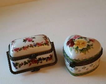 2 porcelain trinket boxes, no markings