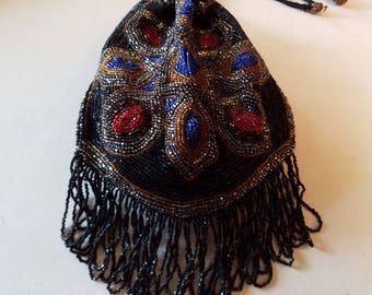 Vintage beaded bag with fringe