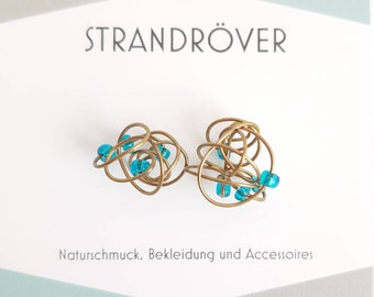 The Piled Sea * Small knob stud earrings with turquoise beads * Boho hippie bronze-colored unique disorder
