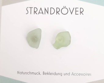 Sea glass earrings sea glass earrings in white-grey-greenish. Bright and delicate rococo colours. Maritime natural jewellery. Elbe beach. Unique