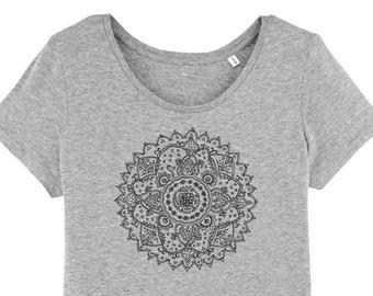 Tshirt - Mandala Print - Gr. S - Size XL - Sportswear Yoga Sportswear Casual Hippie Boho wide neck Fair Fashion heather grey grey