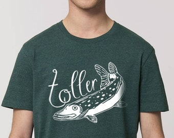 Great pike - T-shirt with screen print - organic cotton - fair - unisex - size S to XXL - dark green mottled -