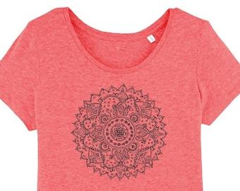Tshirt - Mandala Print - Gr. S - Gr.M - Gr. L - Gr. XL - Sportswear Yoga Sportswear Casual Hippie Boho wide neck Fair Fashion Coral