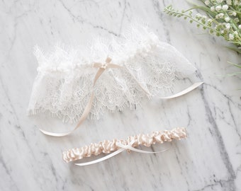 Tulle Bridal Garter  Dusty Pink Wedding Garter  Bridal Satin Garter  Simple Bridal Garter  Tulle Keepsake Garter  Bridal Shower Gifts