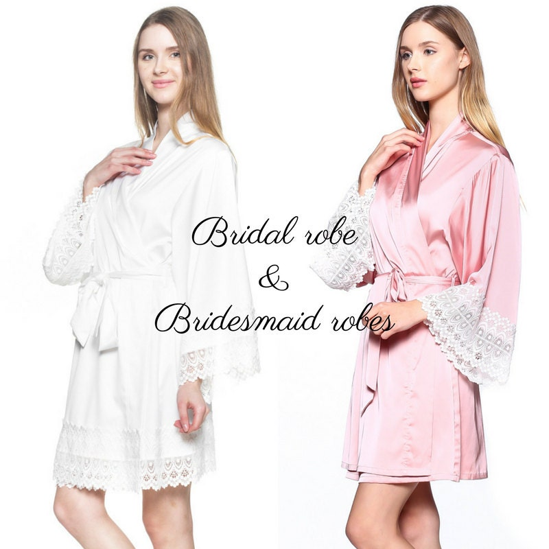 Bridal Robe To Get Ready In: Set Of 4 Bridesmaid Robes For Getting Ready Off White