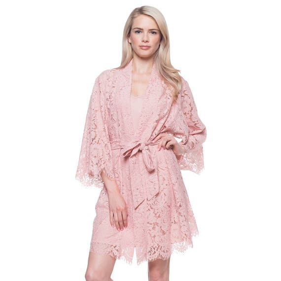 Bridal Robe To Get Ready In: Bridal Lace Robe For Getting Ready / Blush Pink Lace Robe