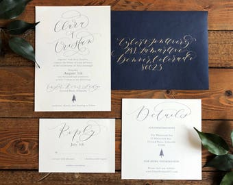 Pine Tree Wedding Invitation Suite . Modern Calligraphy . DIGITAL FILE . modern rustic wedding .  wedding stationery . calligraphy . simple