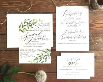 Greenery Wedding Invitation Suite . Watercolor leaves . hand lettered wedding invitation . calligraphy invitation . custom calligraphy