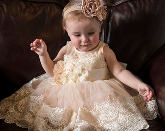 7dd2aa031b6ff Gorgeous baby gown,ivory baptism gown,baby tutu,baby flower girl dress,ivory  girls dress,rustic dress,portrait dress,baby lace dress, tulle