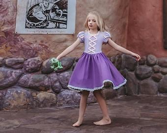 READY TO SHIP girls dress,rapunzel twirl dress,girls princess dress,toddler birthday dress,princess,cosplay,princess outfit,dress up costume