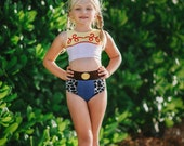 Girls Bathing Suit,Disney Cruise outfit,Jessie Toy Story Swimming suit,Modest Two piece, toddler swimsuit,disney pool party,disney cosplay