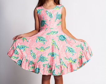7851c0469 Girls dress,reversible twirl dress,lilly pulitzer inspired,twirly dresses,girls  spring dress,beach dress,cruise dress,sea turtles,scoop back