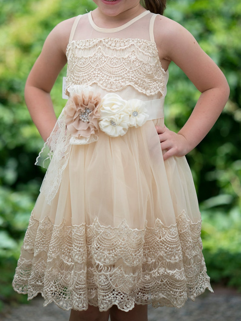 b3a79026f5fd6 Girls Ivory Lace Dresscrochet lace dressIvory Flower Girl | Etsy