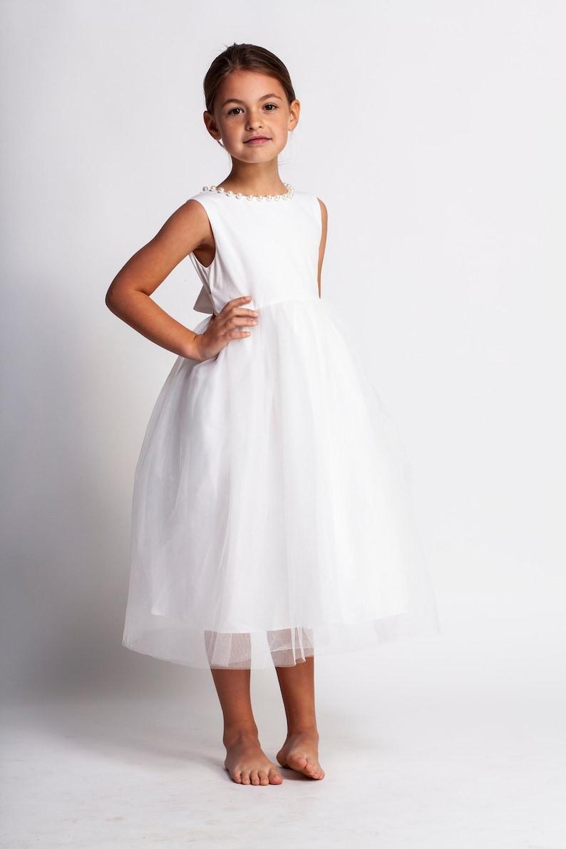 2ec7cbcd5a4a0 Elegant flower girl dress,white flower girl dress,white tulle dress,girls  dress,first communion dress,baptism dress,blessing dress,vintage
