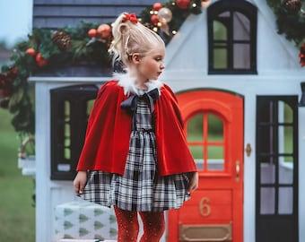 Cindy Lou Who,Girls Christmas Dress,Plaid Christmas Dress,Vintage length dress,toddler girls dress,black & white plaid dress, holiday dress